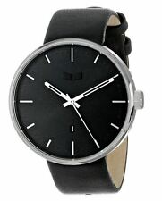 2015 NIB VESTAL ROOSEVELT STAINLESS STEEL WATCH W BLACK LEATHER STRAP $190 black