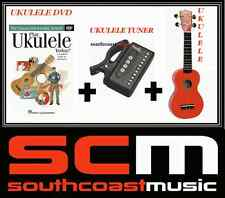 RED SOPRANO UKULELE +GIG BAG + PLAY UKULELE TODAY DVD + UKULELE TUNER PACK