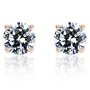 Men 0.1 Carat Diamond Solid 14K Rose Gold 2.4mm Round Solitaire Stud Earrings