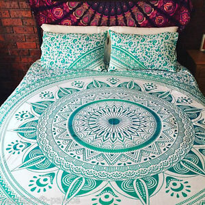 Hippie Indian Mandala Bed Cover Dorm Decorative Bed Sheet Bedding with 2 Pillow