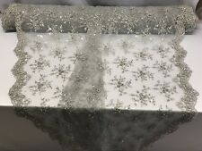 Lace Fabric - Bridal Mesh Silver With Embroidery Beaded & Sequins By The Yard