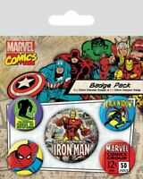 MARVEL RETRO Official Pin Backed Badge Pack IRON MAN