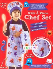 HUNGRY MONSTERS KID'S 3 PIECE CHEF SET - 100% COTTON CHILD'S DRESS-UP COSTUME