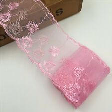 3 3/8 inch wide pink lace mesh embroidery selling by the yard