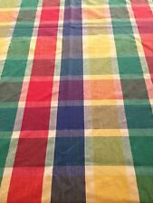 "Nubby Cotton Tablecloth~BOLD Colourful Plaid Squares~90""x 55""~Made In INDIA"