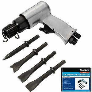 BlueSpot Air Hammer Chisel Set With 4 Chisels Compact Design Tool For Compressor