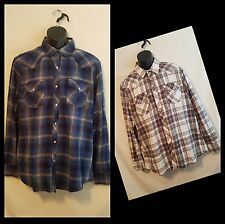 Lot of 2 Roebuck Co Pearl Snap Shirt Mens Plaid Rockabily Long Sleeve Rodeo L