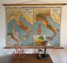 ORIGINAL VINTAGE MAP OF  ITALY HISTORY OF THE ROMAN EMPIRE CIRCA 1945