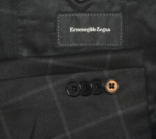 48R Ermenegildo Zegna SILK wool Black Windowpane Sport Coat Blazer Jacket