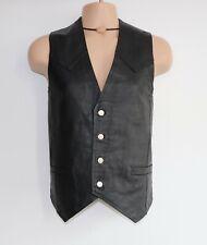 "Men's Vintage JOHN F. GEE Black 100% Leather Waistcoat Vest 004 Pit To Pit 22.5"""