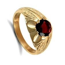 Gents Garnet Solitaire Ring Solid 9 Carat Yellow Gold Hand Finished Hallmarked