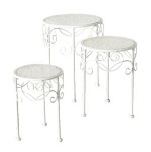 Beistelltisch weiß Metall Telefontisch Pflanzentisch Blumenständer Tisch niedrig