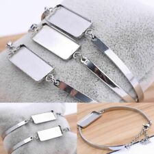 5Pcs Bracelet Base Blanks Stainless Steel Rectangle Cabochon DIY Jewelry Makings