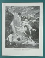 BEETHOVEN'S C# Minor Waterfall Playful Cherubs Cupids - 1892 Victorian Era Print