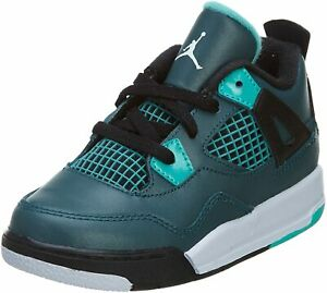 NEW Nike Air Jordan 4 Retro BT Sneakers White/Teal TODDLER SIZE 8C (308500 330)