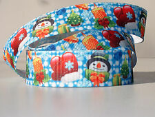 "Christmas Snowmen Snowflakes 7/8"" grosgrain ribbon 4 yds. home decor crafts"