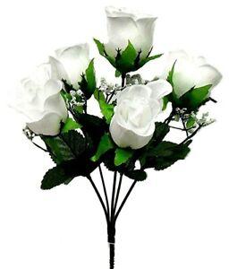 5 Soft Rose Buds Bush Artificial Silk Flowers Wedding Bouquet Fake Party Decor