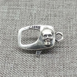 925 Sterling Silver Punk Skeleton Skull Lobster Claw Clasp 2-Sided