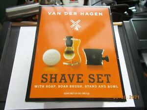 Unused Van Der Hagen Soap & Boar Brush Shave Set, Complete with Stand and Bowl