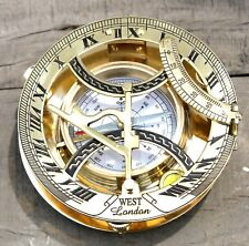 Nautical Brass Working Round Sundial Compass Marine Directional Magnetic Compas