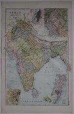 1910 ORIGINAL MAP INDIA MADRAS BOMBAY CALCUTTA NEPAL MYSORE RAJPUTANA