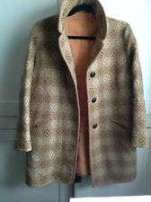 "Welsh Wool Tapestry Coat Taupe 'Reseta' Large 22"" Chest"