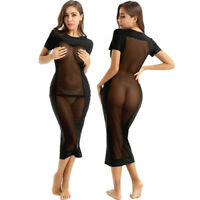 Women Mesh See Through Short Sleeves Bodycon Club Party Long Maxi Dress Cocktail