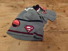 Superman Hat/Glove Set Reversible Boys Acrylic Winter Set Knit Hat/Gloves NEW