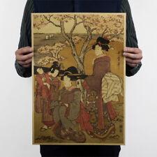 Retro Japanese Ukiyoe Geisha Vintage Kraft Poster bar cafe Decor home Painting@Y