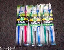 SIX NEW REACH TOTAL CLEAN CRYSTAL CLEAN TOOTHBRUSHES - FULL SOFT HEAD DEEP CLEAN