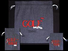 Blue Denim Golf Shoe Bag / Golf Ball Bag / Golf Tee Bag - Great gift idea!!!