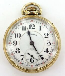 14K G.F. CASE / 1927 ILLINOIS BUNN SPECIAL 16S 21J 6 AD RRG 60 HOUR POCKET WATCH