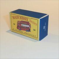 Matchbox Lesney 56 a London Trolley Bus empty Repro D style Box