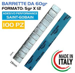 100 Barrette Pesi adesivi per equilibratura cerchi in LEGA Contrappesi (5GRX12)