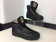 ROBERTO CAVALLI black Leather Ankle Boots Size 35 Uk 2.5 Vgc Gold Hi Tops