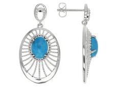 NEW JTV Tehya Oyama Oval Turquoise Sterling Silver Over Brass Earrings $146Value