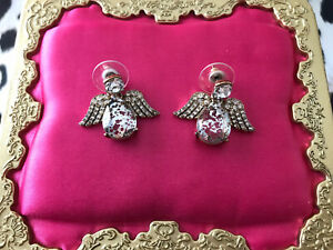 Betsey Johnson Angels & And Wings Silver Foil Spotted Crystal Angel Earrings