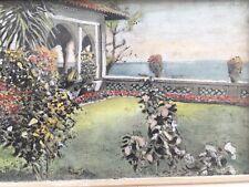 Très BElle Peinture Gouache Aquarelle Parc Maison Cote D Azur Fleur Jardin 1950