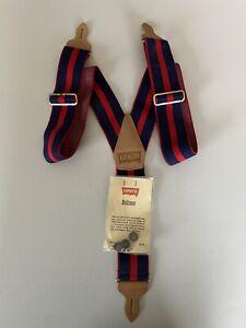 Levis Vintage Red Blue Button Suspenders & Galluses