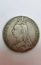 1889 Great Britain Victoria Crown 0.925 Silver Coin VF ,Original  @ KM#765