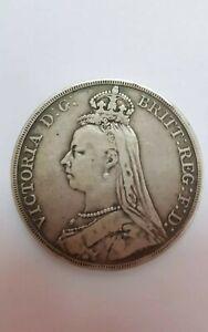 1889 Great Britain Victoria Crown 0.925 Silver Coin VF ,Original  @ KM#765