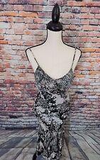 Nina Austin Black Spaghetti Strap Beaded SILK Asymmetrical Evening Dress Sz S