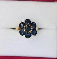 14k Solid Gold Flower Ring With Natural Blue Sapphire Round 2.70GM1.89CT