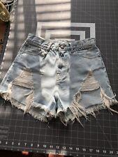 R13 shorts Tilly Shredded Sloch Light Blue 25 XS High Waist