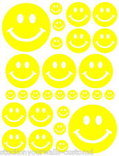 56 YELLOW SMILEY FACE SHAPED VINYL DECAL STICKER TEEN BABY NURSERY BEDROOM WALL