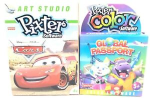 Lot of 2 Fisher Price Pixter Software CARS & GLOBAL PASSPORT For Color Systems