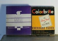 2 Vintage Colorbrite Eberhard Faber & Eagle Copying Pencils in Advertising Boxes