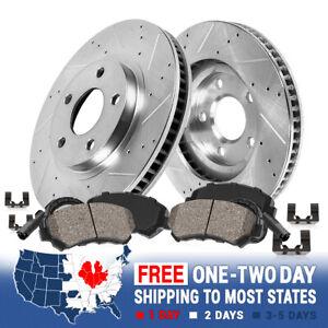 Front Drill Slot Brake Rotors & Ceramic Pads For Mercedes-Benz CLK500 CLK550