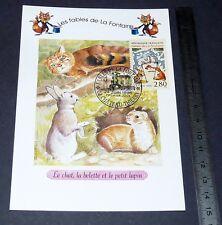 CARTE POSTALE 1er JOUR PHILATELIE 1995 FABLES DE LA FONTAINE CHAT BELETTE LAPIN