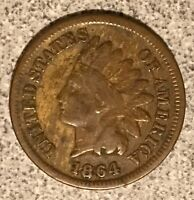 1864-L Indian Head Cent, Snow 1 RPD Variety